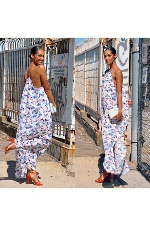 aquamarine leather clutch ted baker bag - white tangerine nyc dress