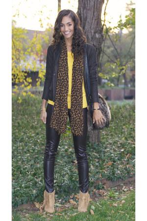 Zara scarf - Chinese Laundry shoes - dark brown Club Monaco leggings - Zara bag