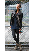 vince jacket - Jeffrey Campbell boots - G Star Raw jeans - Theyskens Theory bag