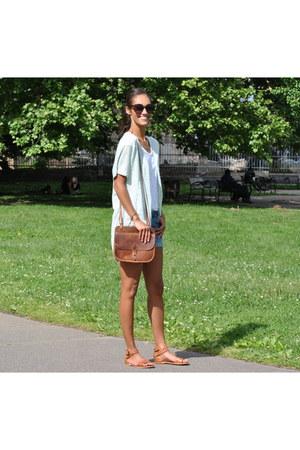 brown leather bag trask bag - sky blue denim shorts Paige shorts