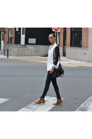 Jeffrey Campbell boots - skinny jeans G-Star jeans - combo Helmut Lang blazer