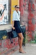 black BCBG skirt - light blue chambray BDG shirt