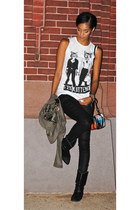 corner shop top - zodiac boots - G Star Raw jeans - Theyskens Theory bag