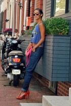 violet American Eagle top - navy denim boyfriend G Star jeans