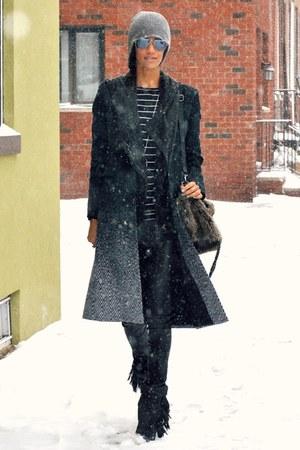 black ombre wool rag   bone coat - gray fringe leather Isabel Marant boots a7303cc3f733
