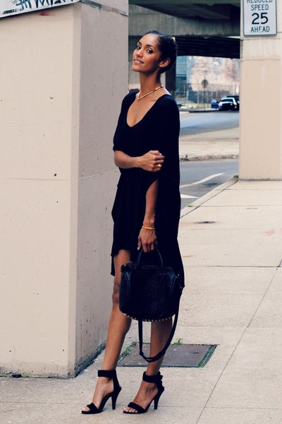 black Jeffrey Campbell shoes - black Toggery dress - black Alexander Wang bag