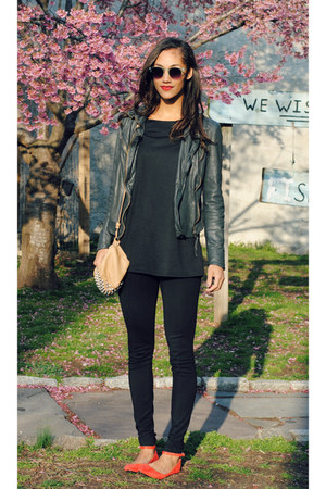 charcoal gray Muubaa jacket - red yeswalker shoes - tan free people bag