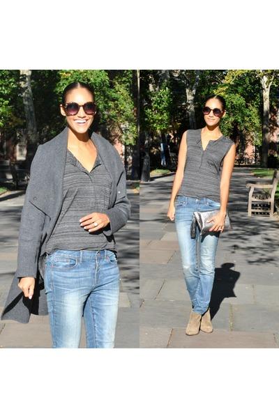 madewell boots - vince coat - madewell jeans - Monserat De Lucca bag