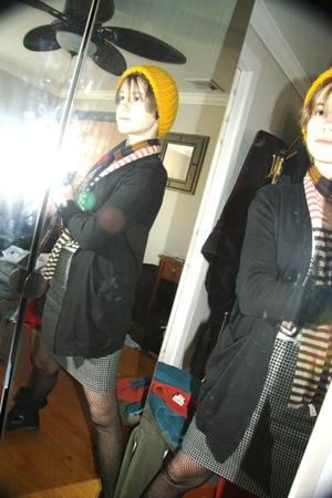 black jacket - white skirt - black boots