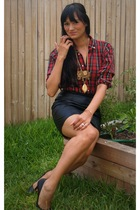 wilsons leather skirt - Polo Ralph Lauren shirt - Buffalo Exchange necklace - Fo