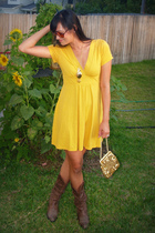 Forever 21 dress - Steve Madden boots - flea market necklace - flea market purse