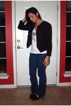 blue Tommy Hilfiger jeans - white American Apparel t-shirt - black vintage- Buff