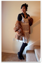 brown Texas Thrift coat - beige Buffalo Exchange no tag dress - black American A