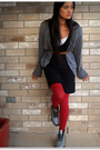 Gray-american-apparel-cardigan-black-gap-dress-red-we-love-colors-tights-s