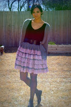 black INC top - purple vintage skirt - gray American Apparel cardigan - black me