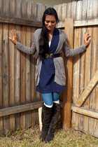 blue American Apparel dress - blue We Love Colors tights - gray Chinese Laundry
