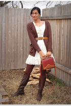 beige jovovich-hawk dress - brown American Apparel cardigan - brown Hunt Club bo