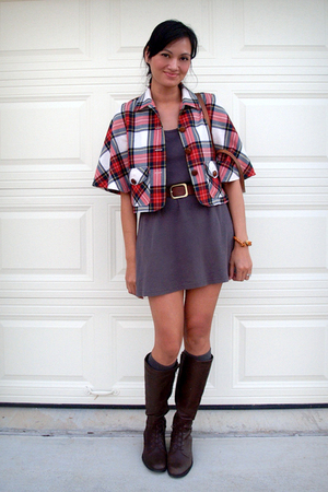 gray American Apparel dress - red Built by Wendy jacket - brown Hunt Club boots