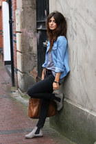 heather gray Office shoes - black Topshop jeans - sky blue denim Topshop shirt -