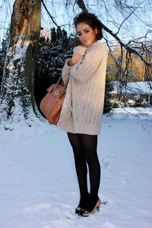 brown Mulberry bag - beige karen millen shoes - black tights