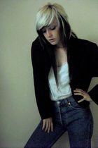 black jacket - blue Levis jeans