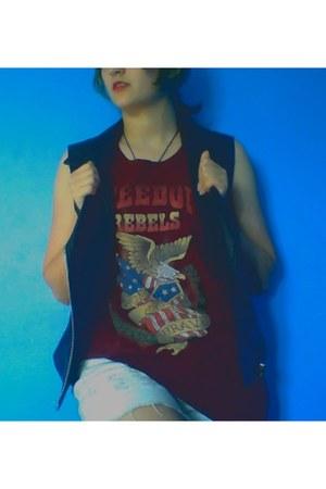 black vinyl Forever 21 vest - white cotton spandex Rue 21 shorts