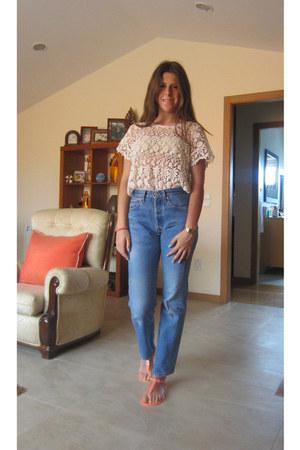 blue Levis jeans - beige pull&bear shirt - Primark sandals