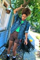 blue jacket - black bag - dark brown shorts - chartreuse top