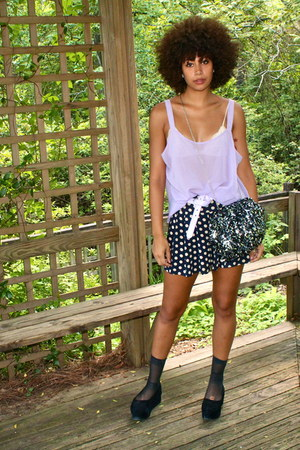 navy shorts - periwinkle top