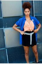 blue shirt - black skirt