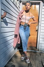 Pink-suede-jacket-light-blue-acid-washed-jeans-light-pink-cropped-top