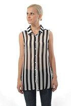 Black White Stripe Sleeveless Sheer Chiffon Blouse
