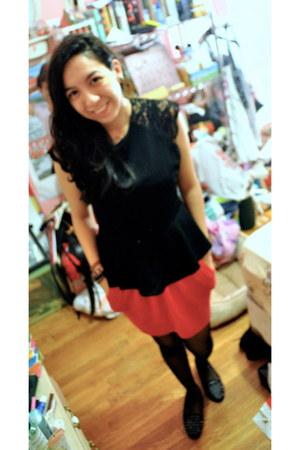 red Forever 21 skirt - black sheer tights - TJ Maxx top