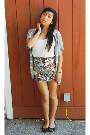 H&M skirt - Forever 21 cardigan - american eagle outfitters top