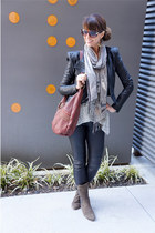 black leather jacket BCBG jacket - heather gray free people sweater