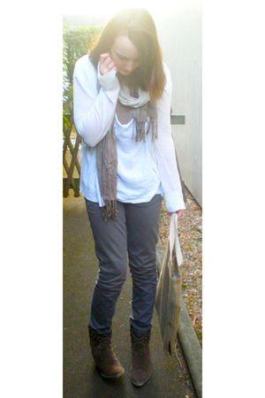 white Max Azria cardigan - white H&M t-shirt - gray Promod pants - brown Pimkie