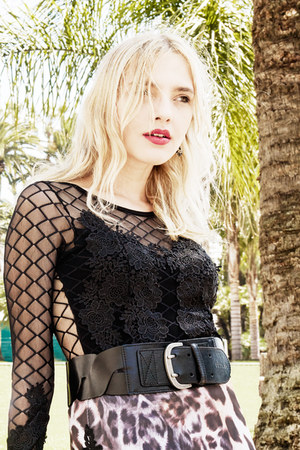 lace Kimika shirt - leather Zara bag - leather Sisley belt