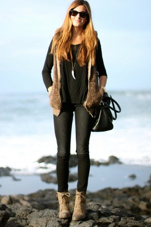 black bag - tan shoes - black sunglasses - tan vest - charcoal gray pants