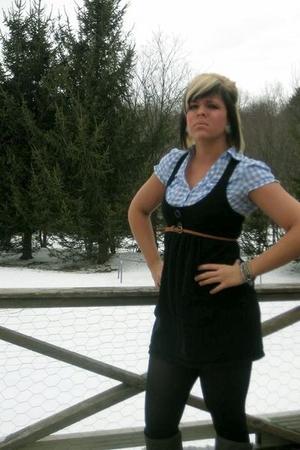 blue H&M shirt - black dress - black tights - gray Old Navy boots - brown Charlo