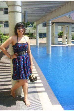 blue kashieca dress - black vintage belt - silver Topshop glasses - gold SM Dept