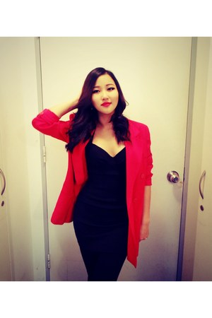 red Zara blazer - black Topshop dress
