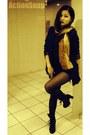 Black-dkny-boots-navy-zara-blazer-gold-zara-scarf