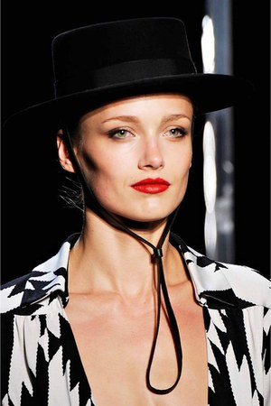 black black and white dvf hat