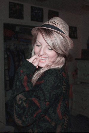 straw fedora hat - cardigan