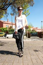 white Zara vest - black Zara sandals - black Primark pants