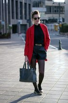 red zara Zara blazer - heather gray Armani Jeans bag - black Zara blouse