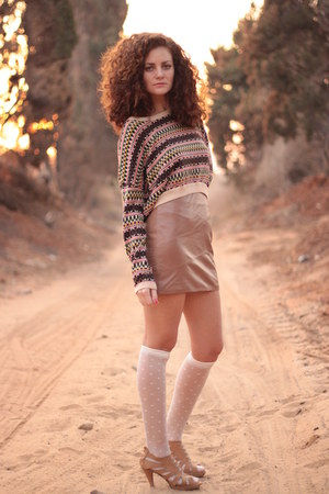 camel H&M skirt - beige American Apparel socks - bronze H&M sweater
