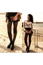 black American Apparel tights - white Springfield t-shirt - black renuar shorts