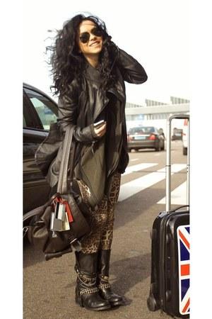 black Zara boots - black H&M jacket - camel c&a pants