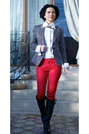 red Forever 21 pants - black Zara boots - black striped H&M blazer
